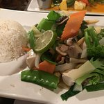 Steamed mixed vegetables with rice