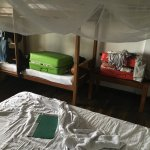 A un-necessairy bunk bed taking up what little space there is in the room