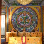 Thangka with neon lights in the centre
