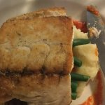 Barramundi with truffle mashed potato and veges, sauce great taste to the palette