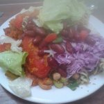 curry, rice and salad