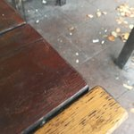 Broken glass all over the floor outside glasses need to be collected