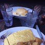 Eggs Benedict & 3 Cheese Omlette