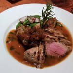 Pan-seared Pork Tenderloin served with fig & port wine reduction