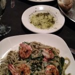 Pesto Pasta with Warmed Buns and Olive Oil