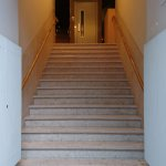 16 steep steps from the street to Reception