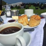 Great Devon cream tea over looking the sea