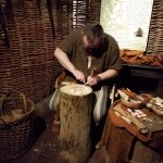 This is a real life craftsman illustrating carving skills of early Dublin.