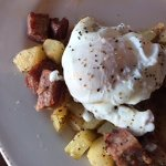 hash and poached eggs