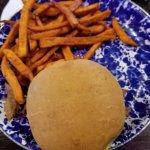 pork bbq sandwich and sweet potato fries
