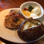 Herb crusted parmesan chicken & loaded baked potato.