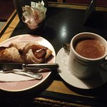 Rich hot chocolate and a pastry
