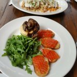 Grilled octopus, smoked burata with salmon and balsamic onion