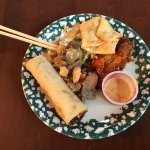 Egg drop soup and egg roll with various dishes samples. Very good!