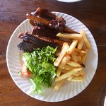 Beef and Pork Ribs with chips
