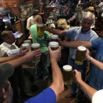 Octoberfest at Boston's Pizza - liter beer holding contest - got to drink the beer and keep the
