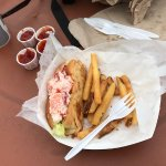 One of the twin lobster rolls