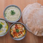 From the left to the right: Babaganoush, Coriander Hummus, and Regular Hummus.