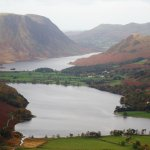 View above Honister Pass of Buttermere and Crummock Water