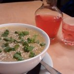 potato and parsley soup + marzipan & plum tea