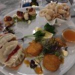 Entree of sampling plate for 3, scallops with potato roesti, salmon sashimi; mains and desserts