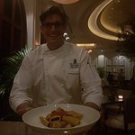 Chef Francesco with one of his creations, Amazing Seafood Pacheri!