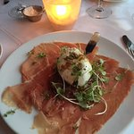 Appetizer - Burrata Cheese and Ham with Microgreens