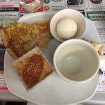Thé gourmand, crème caramel, glace noix de coco et crêpe au sucre, copieux!!!!