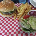 The Cheeseburger and Fries with a side salad