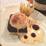 Chocolate & red wine cake with peanut butter ice cream