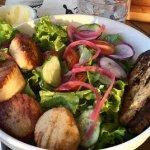 seasonal salad with scallops