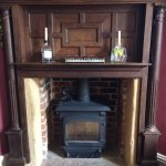 The wood stove in the main bar area
