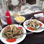 light lunch of white bait and sardines, local wine and chips
