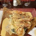 La bretonne (Noix de St Jacques, Gambas, Fondue de poireaux)