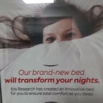 Poster claiming an innovative bed