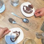 Chocolate roulade with Chocolate / Vanilla Ice Cream