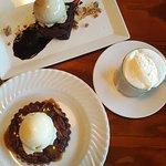 Southern Pecan Pie, bourbon ice cream, chocolate chip brownie, Irish Baileys Coffee