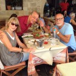 Yet another nice time with Stavros and Yannis at Mama Sofia restaurant in Rodos old town.