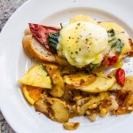 Breakfast at Lonhi's; eggs Benedict with bacon