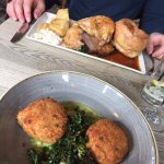 Fish cakes and a trio of roast
