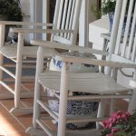 Rocking chairs on the front porch are a great place for reading.