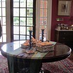 An 1880's table centers the living room and often showcases a special collection.
