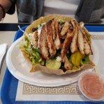 Cranberry Almond Greek Salad on a Taco Shell