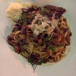 Fettucine pasta with duck