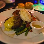 Surf n' Turf - Filet Mignon, petite Lobster Tail, seasonal vegetables.