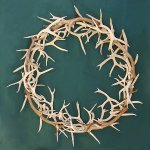 antler wreath made from brown and white mule deer antler