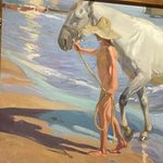 Boy and his horse on the beach