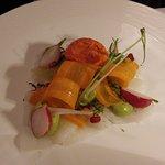 Céviché de poisson sorbet poivron rouge