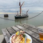 A Thames barge sails past my baked lobster!