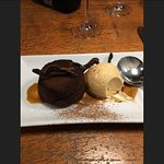 Chocolate fondant with salted caramel ice cream.